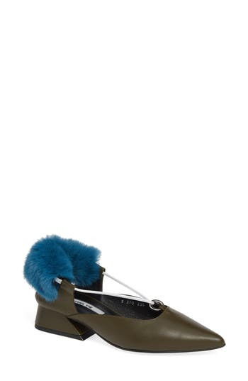 Faux Fur Block Heel Pump, Olive Green/ White