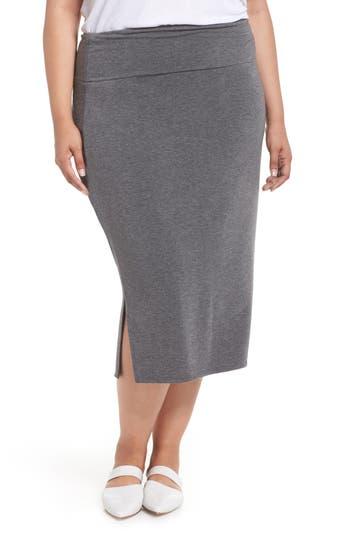 Plus Size Caslon Off Duty Knit Skirt, Grey