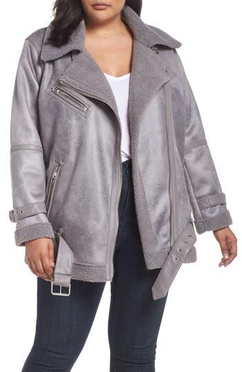 Plus Size Avec Les Filles Faux Shearling Biker Jacket, Grey