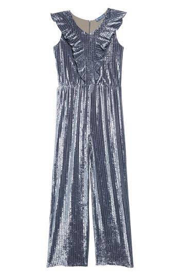 Vintage Style Children's Clothing: Girls, Boys, Baby, Toddler Girls Truly Me Velvet Ruffle Front Jumpsuit $66.00 AT vintagedancer.com