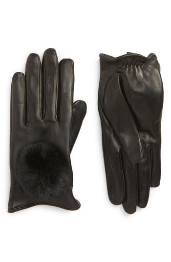 Nordstrom Faux Fur Pompom Lambskin Leather Gloves, Black