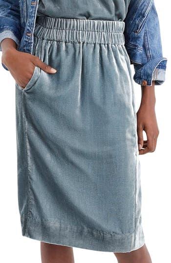 Plus Size J.crew Pull-On Velvet Skirt, Size - Blue