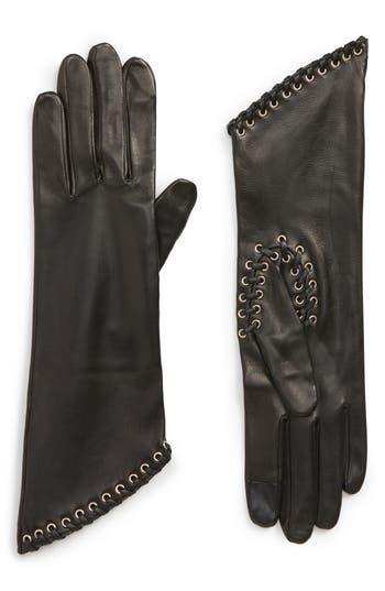 Agnelle Eyelet Lambskin Leather Gloves - Black
