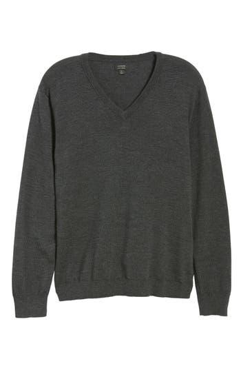 J.crew V-Neck Merino Wool Sweater, Grey