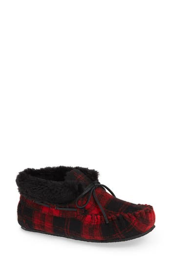 'Chrissy' Slipper Bootie, Red Plaid Fabric