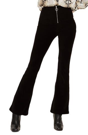 Topshop Zip Flare Corduroy Pants, US (fits like 0) - Black