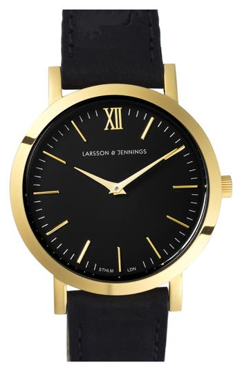 Larsson & Jennings Jewelries 'LUGANO' LEATHER STRAP WATCH, 33MM