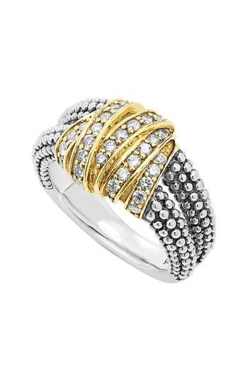 Women's Lagos 'Diamonds & Caviar' Medium Diamond Ring