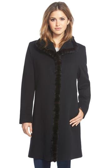 Women's Fleurette Genuine Mink Trim Stand Collar Wool Coat
