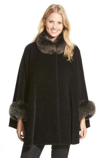 1920s Style Coats Womens Blue Duck Genuine Fox Fur Trim Wool Blend Cape Size One Size - Black $1,399.00 AT vintagedancer.com