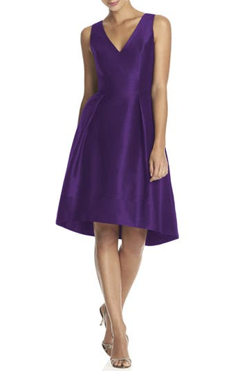 Women's Alfred Sung Satin High/low Fit & Flare Dress, Size 8 - Purple (Online Only)