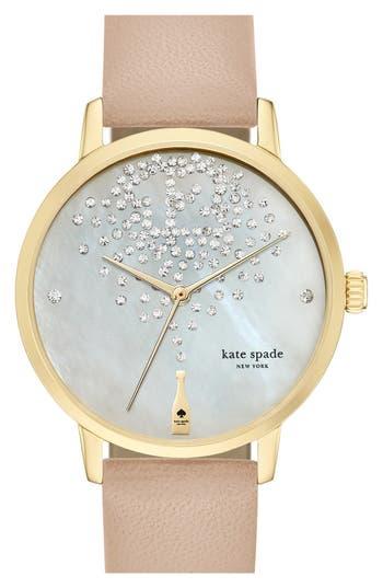 Women's Kate Spade New York 'Metro' Leather Strap Watch, 34Mm