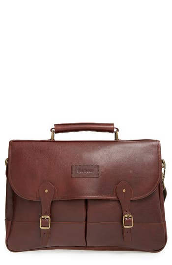 Men's Barbour Leather Briefcase - Brown