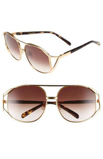 Women's Wildfox 'Dynasty' 59Mm Retro Sunglasses - Gold Tortoise/ Brown Gradient