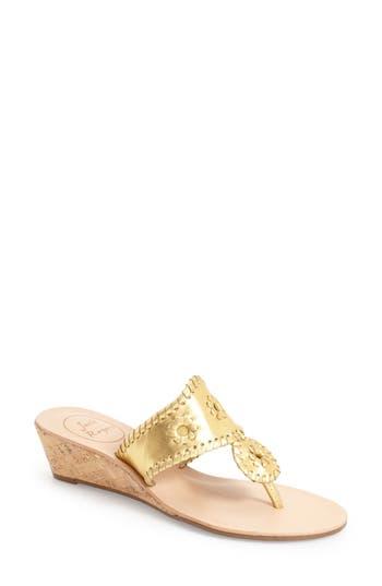 Women's Jack Rogers 'Jacks' Wedge Sandal, Size 10 M - Metallic