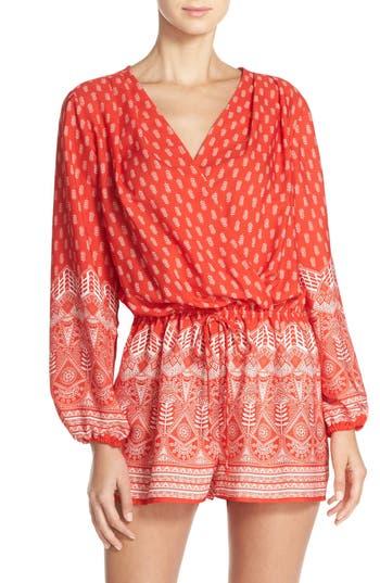 Women's Fraiche By J Print Long Sleeve Romper, Size Small - Red