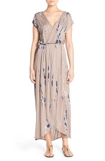 Women's Fraiche By J Tie Dye Faux Wrap Maxi Dress, Size Small - Brown