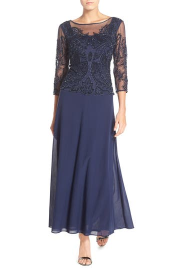 1940s Evening, Prom, Party, Cocktail Dresses & Ball Gowns Womens Pisarro Nights Embellished Mesh Gown Size 14 - Blue $208.00 AT vintagedancer.com