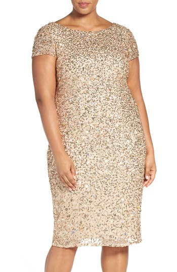 Plus Size Vintage Dresses, Plus Size Retro Dresses Adrianna Papell Beaded Cap Sleeve Sheath Dress Size 24W - Beige $219.00 AT vintagedancer.com