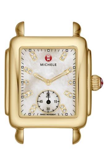 Women's Michele Deco 16 Diamond Dial Gold Watch Head, 29Mm X 31Mm