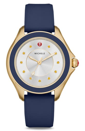 Women's Michele Cape Topaz Dial Silicone Strap Watch, 40Mm
