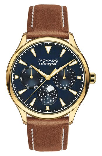 Women's Movado 'Heritage' Multifunction Leather Strap Watch, 36Mm