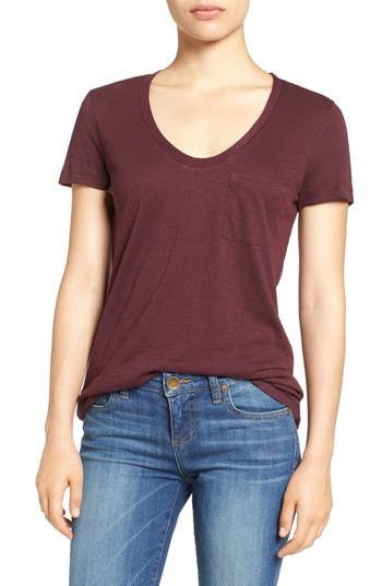 Women's Caslon Rounded V-Neck Tee, Size Small - Burgundy