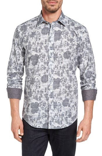 Men's Bugatchi Shaped Fit Graphic Sport Shirt