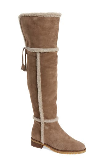 4a144cfc7c2 Frye  Tamara  Genuine Shearling Over The Knee Boot In Taupe Suede ...