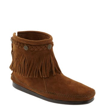 Women's Minnetonka Fringed Moccasin Bootie, Size 7 M - Brown