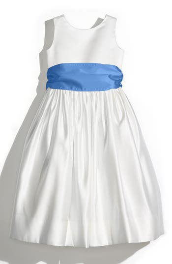 Girl's Us Angels Sleeveless Satin Dress With Contrast Sash, Size 4 - Yellow