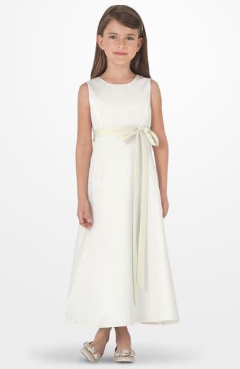 Girl's Us Angels Sleeveless Satin Dress, Size 7 - Ivory