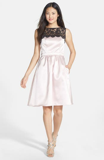Women's After Six Sleeveless Lace & Satin Cocktail Dress
