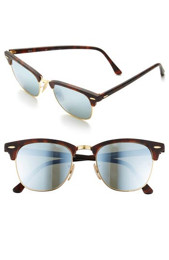 Ray-Ban Flash Clubmaster 51Mm Sunglasses - Tortoise/ Silver Mirror