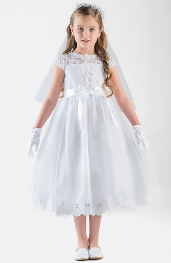 Girl's Us Angels Cap Sleeve Illusion Lace Dress