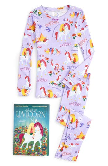 Girl's Books To Bed Uni The Unicorn Fitted Two-Piece Pajamas & Book Set