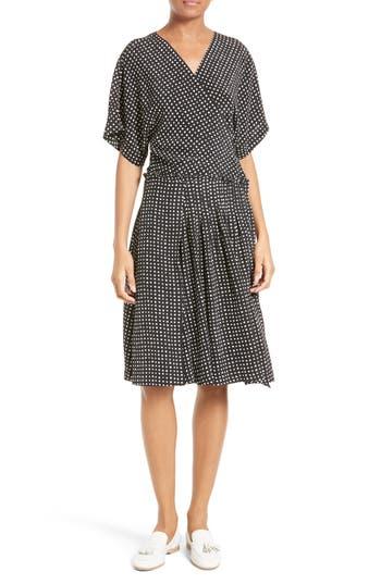 Women's Diane Von Furstenberg Polka Dot Silk D-Ring Wrap Dress, Size 6 - Black