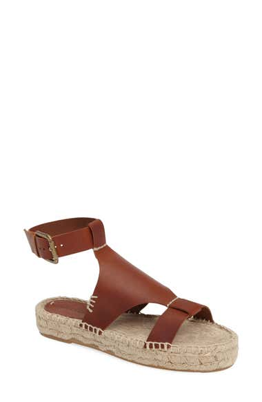 8fd26b0108f Soludos Banded Shield Leather Espadrille Sandals In Camel Leather ...