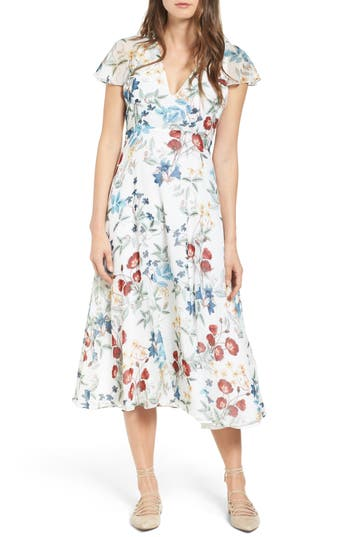 1940s Style Dresses and Clothing Womens Willow  Clay Floral Midi Dress Size Large - Ivory $71.40 AT vintagedancer.com