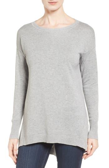 Women's Caslon Zip Back High/low Tunic Sweater, Size XX-Large - Grey