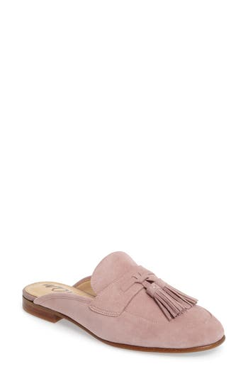 Paris Backless Tassel Loafer in Pink Mauve