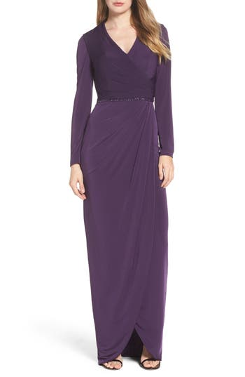 1940s Evening, Prom, Party, Cocktail Dresses & Ball Gowns Womens La Femme Embellished Faux Wrap Gown Size 12 - Purple $478.00 AT vintagedancer.com