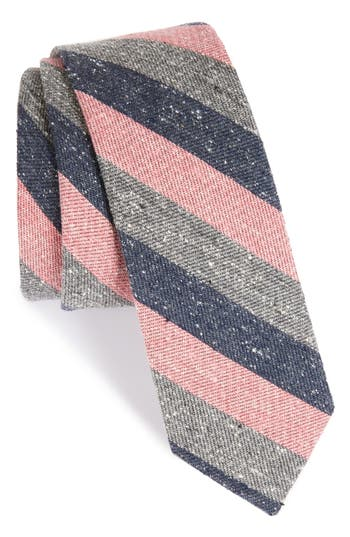 1960s Men's Clothing, 70s Men's Fashion Mens The Tie Bar Varios Stripe Silk Skinny Tie Size Regular - Pink $19.00 AT vintagedancer.com