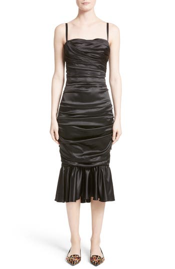 Women's Dolce & gabbana Ruched Stretch Satin Dress