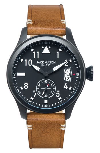 Men's Jack Mason Aviation Leather Strap Watch, 45Mm