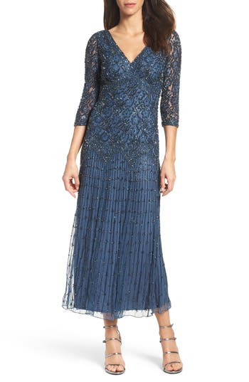 1920s Style Dresses, Flapper Dresses Pisarro Nights Beaded Mesh Dress Size 14P - Blue $189.00 AT vintagedancer.com