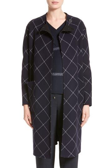Women's Armani Collezioni Windowpane Wool & Cashmere Wrap Coat, Size 10 US / 46 IT - Blue