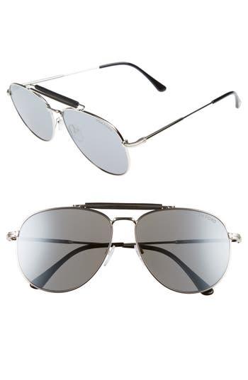 Men's Tom Ford Sean 61Mm Aviator Sunglasses - Shiny Palladium / Smoke Mirror