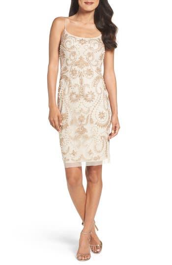 1920s Style Dresses, Flapper Dresses Papell Embellished Sheath Dress Size 8 - Pink $249.00 AT vintagedancer.com