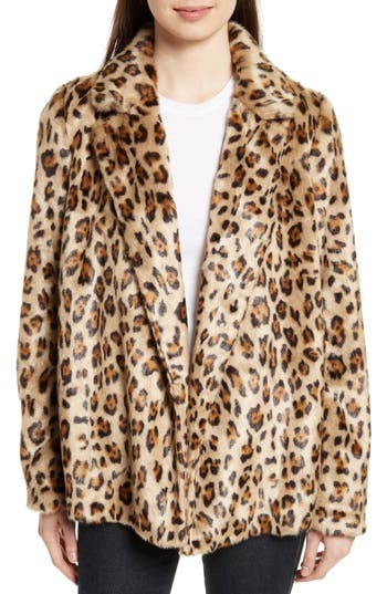 Women's Theory Clairene Leopard Print Faux Fur Coat